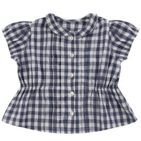 Little Cotton Clothes Dolly Blouse – ink blue gingham
