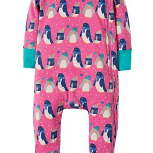 Frugi penguin zippered baby grow