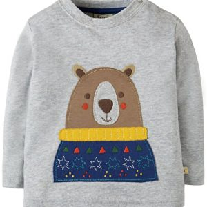 Frugi long sleeve grey applique detail top
