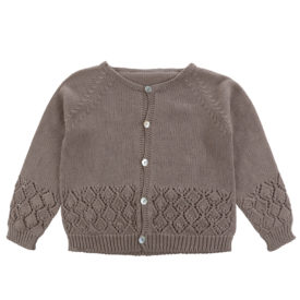Little Cotton Clothes Ottilie Lace Stitch Cardigan – fawn