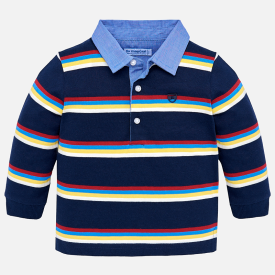 Mayoral Striped Long Sleeve Polo Shirt