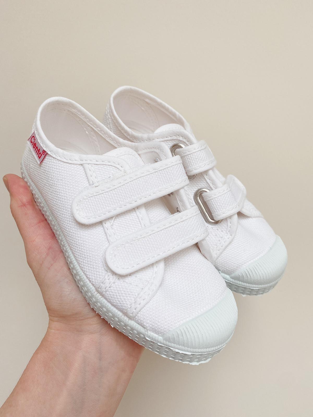 Double Velcro White Canvas Shoe