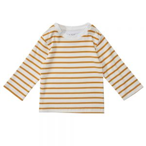 Dotty Dungarees Ochre striped long sleeve breton stripe top