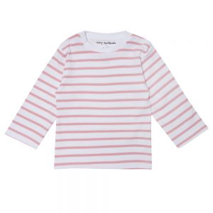 Dotty Dungarees pink stripe breton top long sleeves