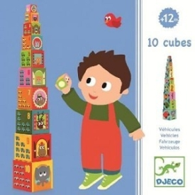 DJECO 10 Stacking Cubes – Vehicles