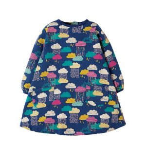 frugi-becky-brushback-dress-navy-colourful-clouds-raindrops-long-sleeve-thick-cotton-girls-dress
