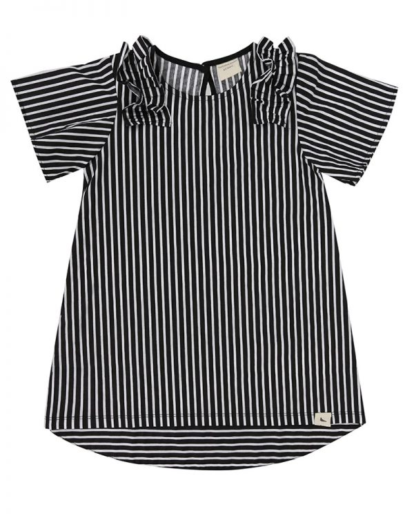 monochrome-vertical-stripe-short-sleeve-girls-dress-product-image