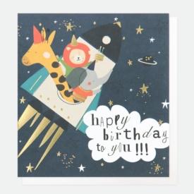 Caroline Gardner Animal Rocket Birthday Card
