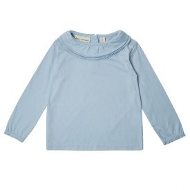 Dotty Dungarees Powder Blue Margaux Ruffle Neck Top