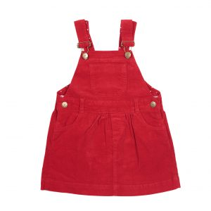 Dotty Dungaree red corduroy dress