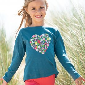 Frugi Bethany Boxy Top, Steely Blue with Heart Design
