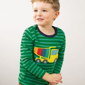 Frugi Discovery Applique Top, Ribbit Green Stripe with Truck