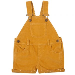 Dotty Dungaree yellow gold corduroy dungaree short
