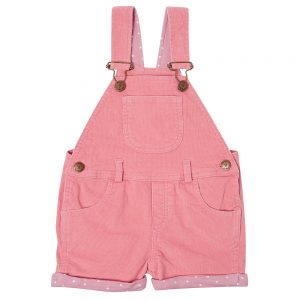 Dotty dungaree pink cord shorts