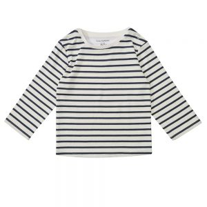 Dotty Dungaree navy stripe breton top long sleeve
