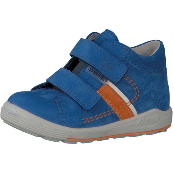 ricosta_laif_azur_blue_waterproof_orange_stripe_kids_ankle_boot_velcro