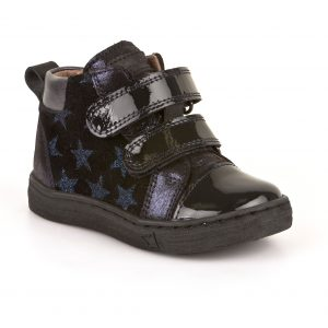 Froddo-Evelyn-navy-patent-leather-ankle-boo-two-straps-navy-stars-thick-black-sole