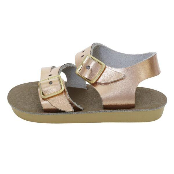 saltwaterseawee_rose_gold_girls_buckle_sandal_side_image