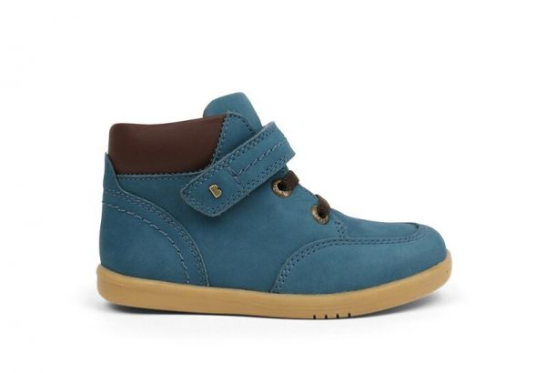 Bobux Timber airforce-brown-ankle-cuff-single-brass-strap-lace-caramel-sole-kids-ankle-boot